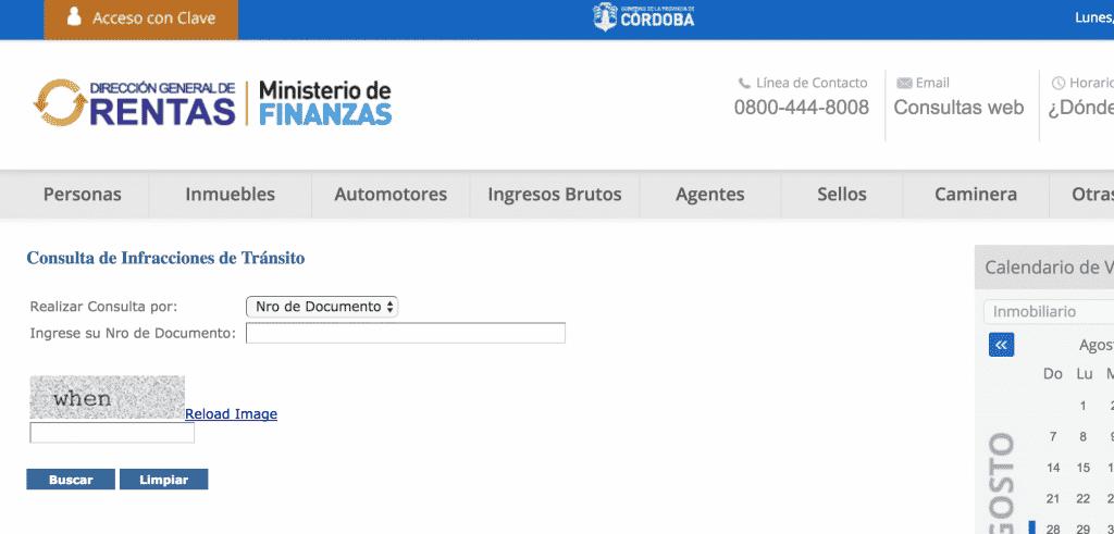 Página web de consulta de multas de policia caminera