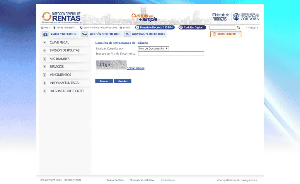 consulta de multas de la Policía Caminera de Córdoba