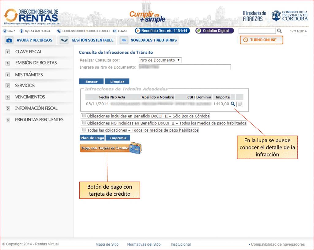 Página de consulta de multas de la Policía Caminera de Córdoba