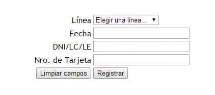 registrar tarjeta redbus